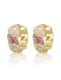 Fashion Gilded Chain-shaped Copper Inlaid Zircon Contrast Earrings