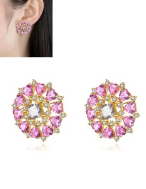 Fashion Color Copper Inlaid Zircon Flower Round Earrings
