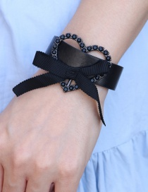 Fashion Black Pu Leather Peach Heart Butterfly Combined With Gold Diamond Love Bracelet