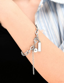 Fashion Silver Rectangle Round Beads Thick Chain Alloy Bracelet