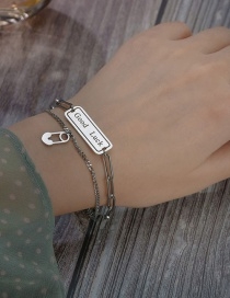 Fashion Silver Letter Pin Buckle Double Layer Stainless Steel Bracelet