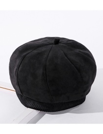 Fashion Black Solid Color Stitching Suede Pumpkin Hat
