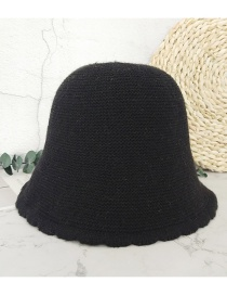 Fashion Black Lace Solid Color Knitted Fisherman Hat