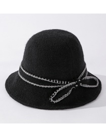 Fashion Black Knitted Bow Wool Fisherman Hat
