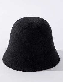 Fashion Black Wool Fleece Solid Color Lace Fisherman Hat