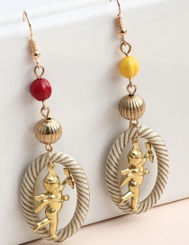 Fashion Gold Color Angel Metal Double-sided Cupid Long Earrings