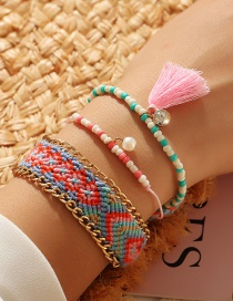 Fashion Color Mixing Braided Rice Beads Tassel Inlaid Diamond Alloy Multilayer Bracelet