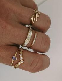 Fashion Gold Color Irregular Geometric Zircon Tree Branch Ring Set