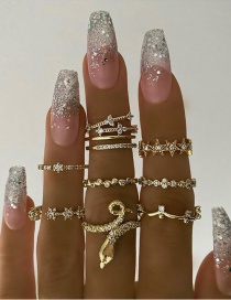 Fashion Gold Color Diamond Snake-shaped Five-pointed Star Carved Ring Set
