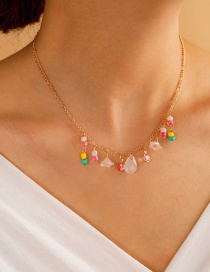 Fashion Gold Color Alloy Rice Bead Flower Drop Necklace