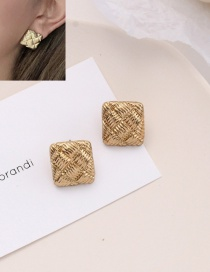Fashion Gold Color Square Check Metal Earrings