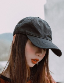 Fashion Black Distressed Washed Cotton Solid Color Cap