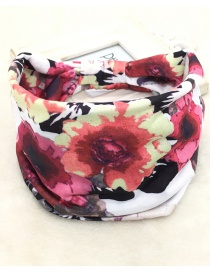 Fashion Tie-dye Flowers Printed Wide-sided Geometric Stretch Headband