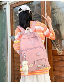 Fashion Pink Bear Pendant Transparent Stitching Nylon Cloth Letter Embroidery Backpack