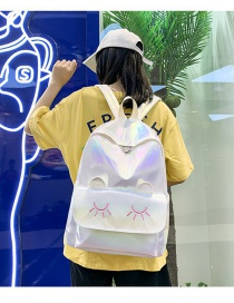 Fashion White Cat Gradient Laser Backpack