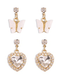 Fashion Gold Color Alloy Diamond Butterfly Love Stud Earring Set