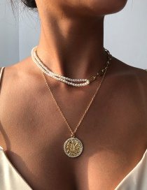 Fashion Gold Color Alloy Pearl Double Round Necklace