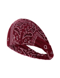 Fashion Wine Red Cashew Print Fabric Double-layer Broad-brim Headband