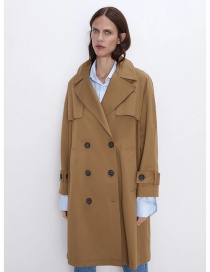 Fashion Camel Buttoned Solid Color Lapel Long Trench Coat