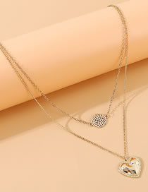 Fashion Golden Love Round Hollow Alloy Double Necklace