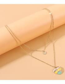 Fashion Golden Peach Heart Painting Oil Contrast Alloy Double Necklace