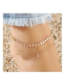 Fashion Golden Little Pentagram Love Alloy Anklet Set