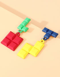 Fashion Color Mixing Real Gold-plated Frosted Building Blocks Contrast Asymmetrical Earrings
