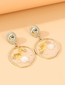 Fashion Gold Color Shell Resin Geometric Alloy Earrings