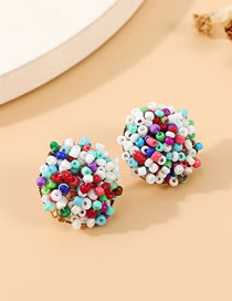 Fashion Color Mixing Handmade Rice Beads Beaded Hit Color Ball Earrings