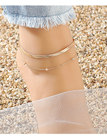 Fashion Golden Round Bead Snake Chain Alloy Double Anklet
