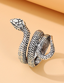 Fashion Ancient Silver Snake-shaped Old Embossed Alloy Ring
