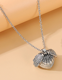 Fashion Silver Love Wings Alloy Embossed Old Necklace