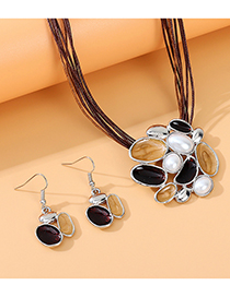 Fashion Deep Purple Pearl Painting Oil Geometric Alloy Necklace And Earring Set