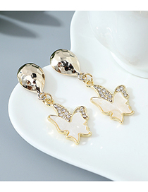 Fashion White Small Butterfly Crystal Diamond Resin Alloy Stud Earrings