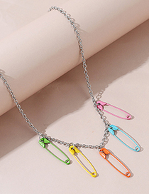 Fashion Color Mixing Brooch Spray Paint And Color Alloy Necklace