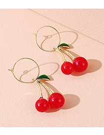 Fashion Red Resin Cherry Drip Oil Alloy Earrings