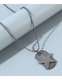 Fashion Silver Pentagram Geometric Bead Chain Mens Necklace