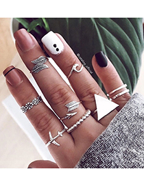 Fashion Silver Color Triangle Airplane Arrow Alloy Ring Set