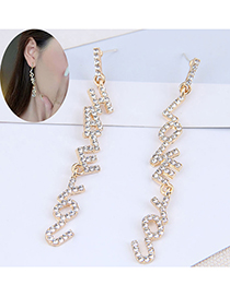 Fashion Gold Color Long Alloy Earrings With Diamond Letters