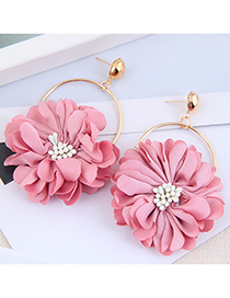 Fashion Pink Fabric Petal Alloy Round Earrings