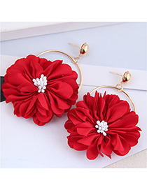 Fashion Red Fabric Petal Alloy Round Earrings