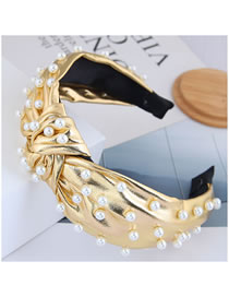 Fashion Gold Color Bright Pu Pearl Knotted Wide Side Hair Band