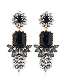 Fashion Black Geometric Alloy Stud Earrings With Gems And Flowers