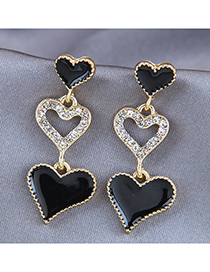 Fashion Black Love Drop Oil Diamond Alloy Earrings