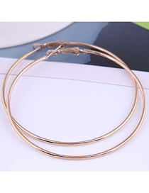 Fashion Rose Gold Color 70mm Smooth Round Alloy Earrings