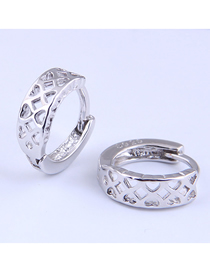 Fashion Silver Color Hollow Love Round Alloy Earrings