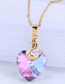 Fashion Purple Swan Crystal Heart Alloy Necklace