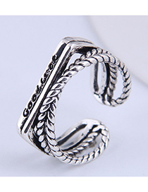 Fashion Silver Color Cross Geometry Alloy Open Ring