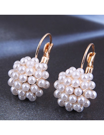 Fashion White Pearl Round Alloy Stud Earrings