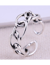 Fashion Silver Thick Chain Hollow Open Ring